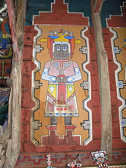 Water damage to Kachina painting by H. Arden Edwards