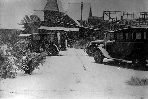 Snow during museum construction, early 1930s